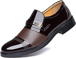 [AJGLJIYER LTD] ビジネスシューズ メンズ ラウンドトゥ プレーンヒール 紳士靴 革靴 超繊維 PUレザー カジュアルシューズ スリッポン 金属 通気 滑り止め 軽量 コンフォート 通勤 パーティー