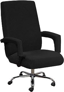 HINMAY Fundas de asiento de silla de oficina elásticas con funda para reposabrazos, patrón Jacquard alto respaldo para silla de ordenador extraíble funda para sillón giratorio universal (L, negro)