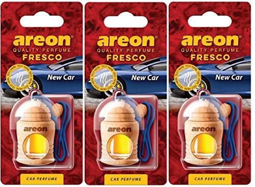 AREON Fresco Ambientador Nuevo Coche Olor New Car Colgante Azul (Pack de 3)