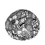 Gorro de ducha impermeable de doble capa, polinesia hawaiana Trbal Tatoo Ducha Cabello Gorro de baño elástico para dormir Capó Spa Salon para mujeres