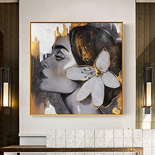 No frame KUNST Canvas schilderij meisje maan bloem Hand gouden foto's vrouwen Posters Prints Wall Art voor woonkamer 40x40cm