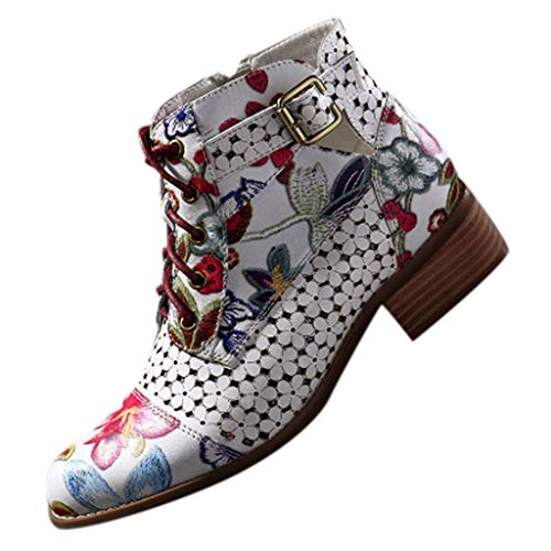 Luckycat Botines De Altos Tacón Mujer PU Piel con Plataforma Ante Forrados Cordones 6 Cm Estampado De Serpiente Zapatos Moda Otoño Invierno Comodos 35-43