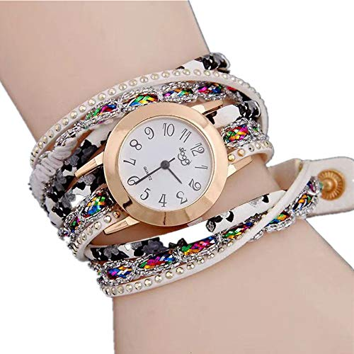 Beauth Bohemian Uhrenarmband, Wickelarmbanduhr, geflochtene Schlangen-Quarzuhr, Lederkette Quarz Damen Mehrschicht-Armband Armbanduhr Relojes, Silber Seide Weiß