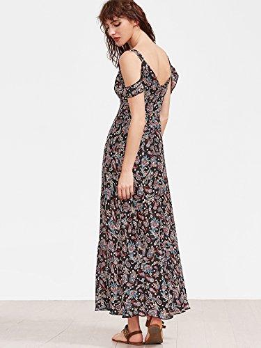 Floerns Women's Sleeveless Halter Neck Vintage Floral Print Maxi Dress Medium Multicolor