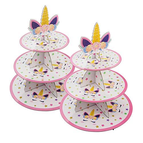 Aogist Baby Duschen Tortenständer 3 Etagen Cupcake Ständer aus Karton Muffinständer 2 Stück Einhorn Muffin & Kuchen Dessert Ständer für Mädchen Geburtstag Party Weinachten Hochzeit Weiß