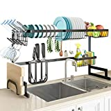 """SLENPET Over The Sink Dish Drying Rack, Adjustable (33""""- 41"""") Large Dish Drainer, Kitchen Supplies Shelf with Utensil Holder and 5 Hooks, Sturdy Stainless Steel Space Save Rack for Counter Storage"""