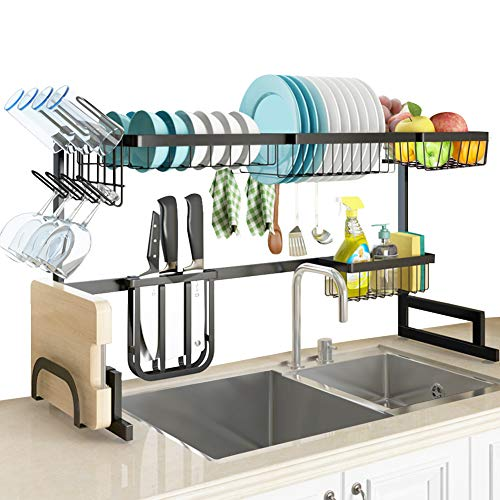 "SLENPET Over The Sink Dish Drying Rack, Adjustable (33""- 41"") Large Dish Drainer, Kitchen Supplies Shelf with Utensil Holder and 5 Hooks, Sturdy Stainless Steel Space Save Rack for Counter Storage"