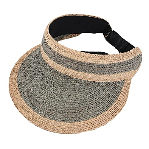 SXLYKJ XCBHJXD Mujeres Paja Sombrero Sombrero Sombrero Paja Vacío Sombrero Top Top Hombre Color A Mateo Paja Tejido Ovenida Ojal Punto de Sol Sombrero Sun Sombrero (Color : Gray)