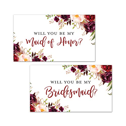 Burgundy Floral Bridesmaid Proposal Mini Champagne Bottle Labels - Set of 12