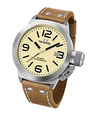 TW Steel Canteen Unisex de piel reloj con mecanismo de cuarzo amarillo esfera analógica y correa de piel color marrón