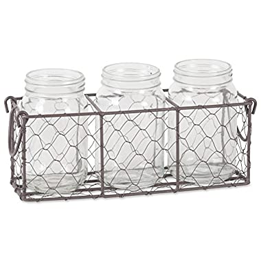 DII Z02014 Rustic Farmhouse Vintage Chicken Wire Flatware Caddy with Clear Glass Jars for Pantry, Kitchen, Office, Bathroom, Mudroom, Entryway, Laundry Room, 11  x 3.5  x 4