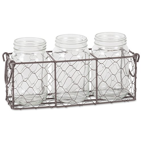 DII Flatware Caddy with Clear Glass Jars Vintage Farmhouse Chicken Wire, Rustic Bronze