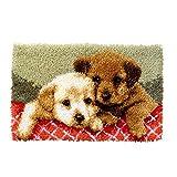 Myriad Choices Hunde Knüpfteppich Kreuzstich Stickerei DIY Set 50x30cm Selber Machen Set Latch Hook Kit für Kinder und Erwachsene zum Selber Knüpfen (ZD-55)