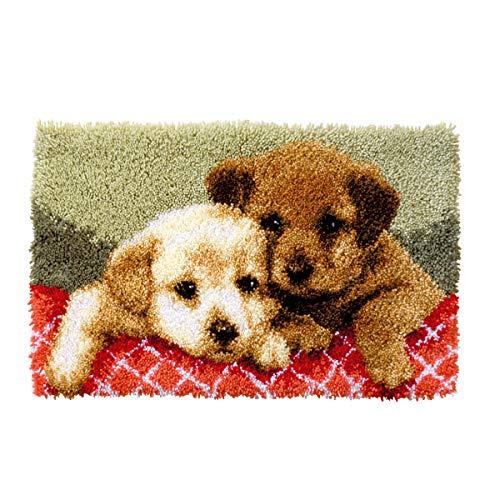 Myriad Choices Latch Hook Kit Tapis pour chien Crochet bricolage par numéro pour adulte et enfants tapis noué au point de croix pour broderie de salon/chambre d