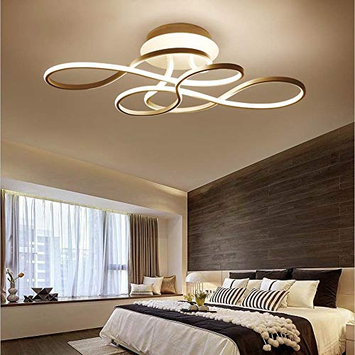 Bradoner Lámpara De Techo LED Simple Poste De Oro Lámpara De Dormitorio De Aluminio Creativa Moderna Habitación De La Casa Atenuación De Luz Atenuación Continua Atenuación