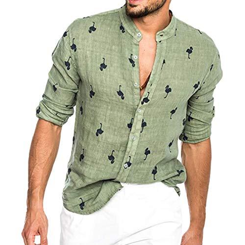 Camicia Hawaiana da Uomo Maniche Lunghe Girocollo Camicia di Lino Moda Fenicotteri Camicia Stampata Boemia Slim Fit Camicia da Spiaggia
