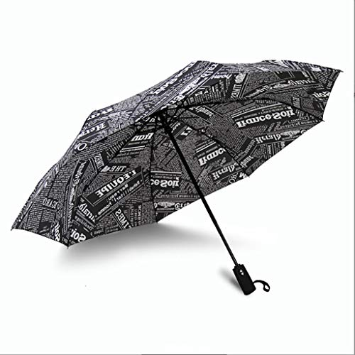 Read About Jian Newspaper Automatic Folding Umbrella Men and Women Creative Business Folding Umbrell...