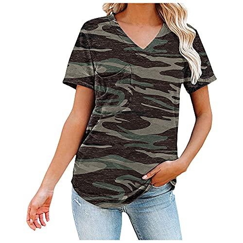 N\P Camisetas estampadas para mujer con cuello en V, camiseta suelta de manga corta