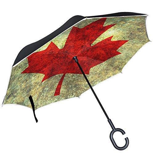 Alaza canadien Drapeau Canada Rouge Feuille d'érable inversé Parapluie double couche coupe-vent Envers Parapluie pliable pour voiture avec poignée en C