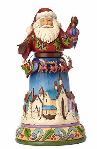 Jim Shore Santa with Rotating Sleigh and Reindeer