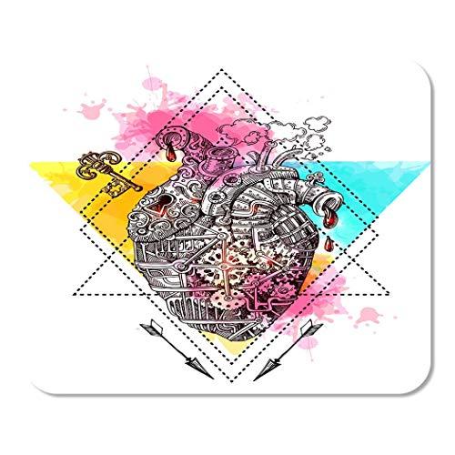 Mousepad Computadora Bloc de notas Oficina Acuarela Mecánica Corazón Steampunk Estilo Nosotros para teléfonos inteligentes Feliz Día de San Valentín Inicio Escuela Jugador de juegos Computadora Trabaj