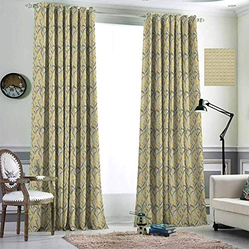 Jktown Yellow and Green Grommet Curtain for Living Room Blackout Draperies for Baby Bedroom 96x84 inch Chamomile with Retro Design Inspirations Botanical Arrangement Army Green and Yellow