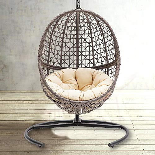 Hanging Egg Chair Swing Wicker Bubble Design Seat Includes Tan Tufted Cushion and Stand