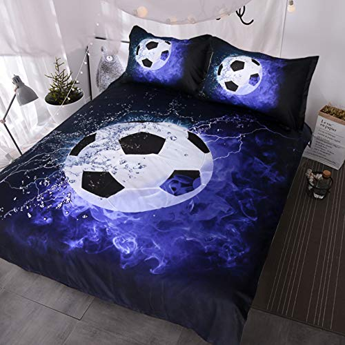BlessLiving 3D Soccer Ball Bedding Blue Flames Teen Boys Sports Duvet Cover 3 Piece Dark Navy Blue Comforter Cover Set (Twin)
