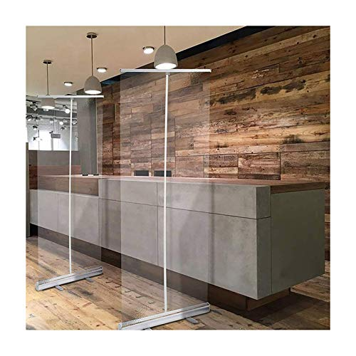 HLMBQ Partition Screen,Roller Pull Up Clear Banner,Floor Standing Sneeze Guard Divider,Shield Barrier,Social Distancing,Hair Salons,Dental 60x160cm