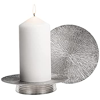 Hand Made Candle Holder Set - Premium Candle Holders for Pillar Candles Candle Stand - Solid Candle Tray and Candle Plate - Modern Pillar Candle Holder for Table Centerpiece