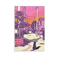 アニメシティポップキャットジャパンシティパステル 20キャンバスポスター壁アートの装飾リビングルームの寝室の装飾のための絵画の印刷キャンバスポスター寝室の装飾スポーツ風景オフィスルームの装飾ギフト 20×30inch(50×75cm)