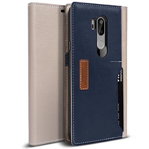 Obliq LG G7 ThinQ Hülle, [K3 Wallet] Stylischer Flip Cover Wallet Hülle aus hochwertigem italienischem Leder mit Drop Protection und Shock Absorbing Kissen für das LG G7 (2018) (Schlammgrau/Navy)
