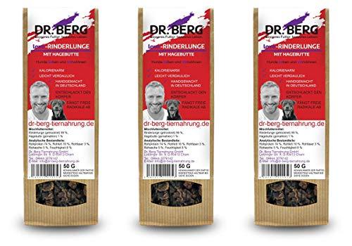 Dr. Berg Love-RINDERLUNGE mit Hagebutte: getreidefreies & gesundes Leckerli für Hunde - extra verträglich und lecker durch natürliche & hochwertige Zutaten (3 x 50 g)