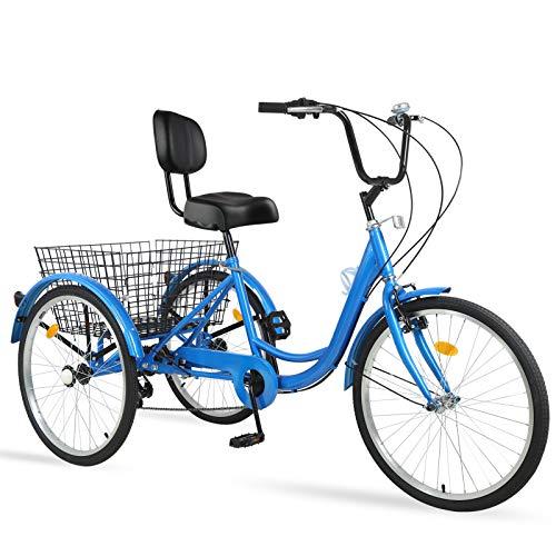 "Ey Adult Tricycle, 3 Wheel Bike Adult, Three Wheel Cruiser Bike 24 26 inch Wheels, 7 Speed, Adjustable Seat and Handlebar, Multiple Colors (Royal Blue, 24"" Wheels/7-speed)"