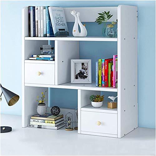 Multifunktions-Schreibtisch-Organisator, Office-Speicherregal Mehrschichtige Desktop-Bücherregal Thekenbücherregal mit 2 Schubladen, Schreibtisch-Speicher-Organisator-Anzeigen-Regal-Rack for Bürobedar
