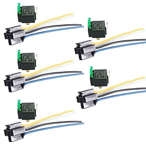Mintice™ 5 X 30A 12V kit voiture relais 4 broches pour la pompe à carburant de ventilateur relais fil de prise fusible