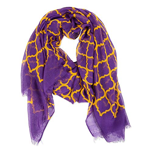 Tickled Pink Women's Vibrant Royal Lightweight Oblong Scarf, Purple & Gold, One Size