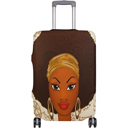 SARA NELL Travel Luggage Cover Black Art Afro Girl Drink Juice African American Girl Suitcase Cover Protector Fits 18-32 Inch Luggage Baggage Cover