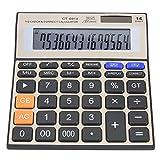 Rehomy Solar Calculator, 14-Digit Calculator Battery Solar Dual Power Office Desktop Financial Calculator with Large LCD Screen