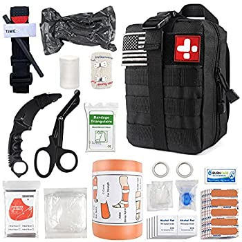 Emergency Survival First Aid Kit with Tourniquet 6  Israeli Bandage Splint Military Combat Tactical Molle IFAK EMT for Trauma Wound Care Gun Shots Blow Out Bleeding Control and More  Black