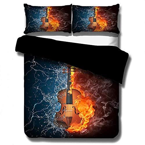 De cuatro piezas juego de cama Establece la funda nórdica, 3D Llama de la guitarra eléctrica del lecho con 2 fundas de almohada Expediente de la música Micrófono cubierta del Duvet con conjuntos de cr