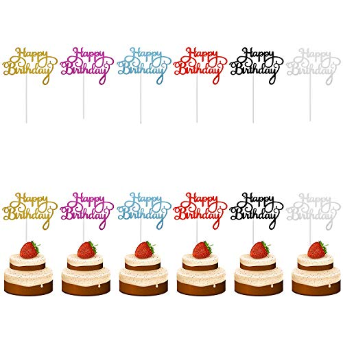 Penta Angel Happy Birthday Cake Toppers 12Pcs Gold Silver Black Red Rose Red Glitter Cupcake Topper Picks for Birthday Party Cake Decoration Supplies (12)