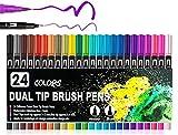 Brush Fineliner Pens, Gelanty 24 Colour Felt Tip Pens Drawing Brush Markers Watercolour