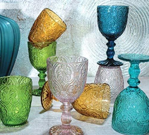 Pagano home 6 Bicchieri Acqua +6 Calici in Vetro per vino colorati assortiti multicolore modello Sensation ( rosso trasparente lilla verde arancio celeste )