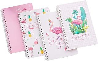 Toyvian 4PCS A5 Flamingo Notebook Loose-Leaf Notebook Coil Notebook Personal Spiral Journal Office School Supplies (4 Patterns)