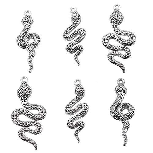 18pcs snake Charms Antique Tibetan Silver Pendant Findings Accessories DIY Vintage Necklace 47x15mm(snake 18pcs)