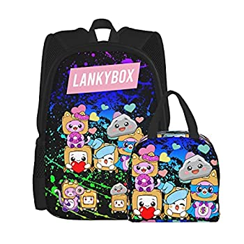 Lanky-box Boxy Foxy Rocky Backpack And Lunch Box For Boys Girls Teen Laptop Book-Bag 2 Piece Set