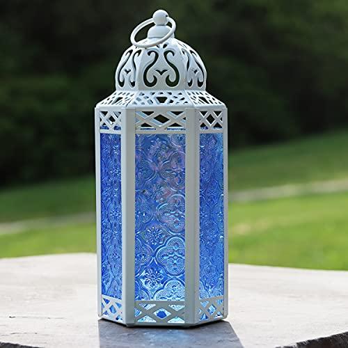 Vela Lanterns White Decorative Candle Lanterns, Medium, Cobalt Glass