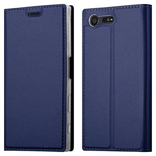 Cadorabo Hülle für Sony Xperia X COMPACT in Classy DUNKEL BLAU - Handyhülle mit Magnetverschluss, Standfunktion & Kartenfach - Hülle Cover Schutzhülle Etui Tasche Book Klapp Style
