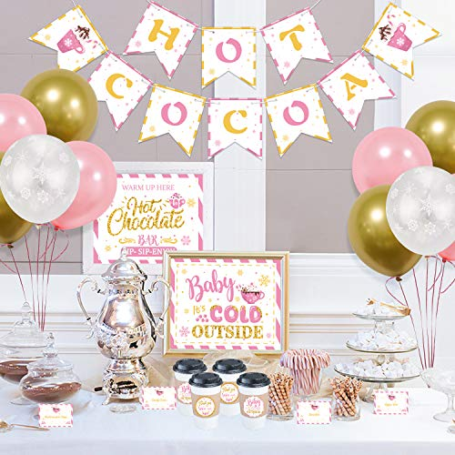 Hot Cocoa Bar Decoration Kit with Pink Gold Snowflake Balloons, Hot Cocoa Banner Hot Chocolate Bar Sign Supplies Labels Cup Tags for Winter Baby Shower Birthday Baby Its Cold Outside Party Decoration